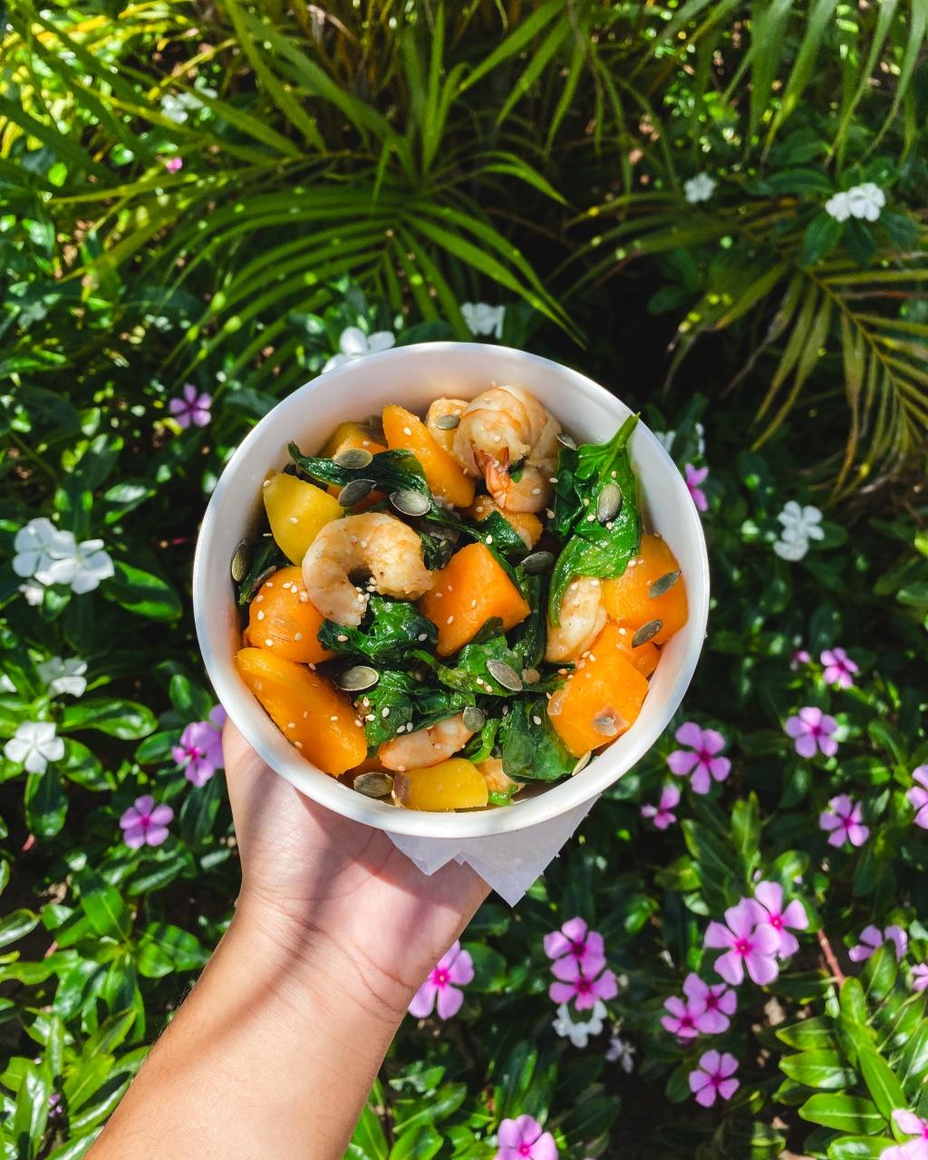 Patates douces - crevettes - épinards